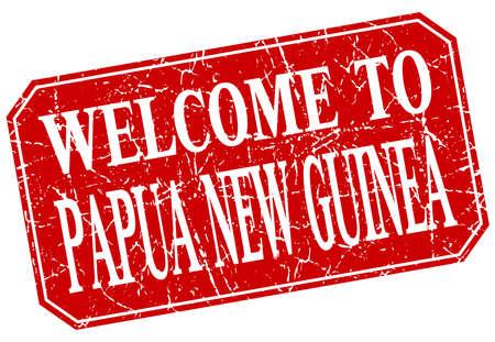 bienvenue à la Papouasie-Nouvelle-Guinée carré rouge grunge stamp Vecteurs