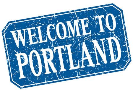 portland: welcome to Portland blue square grunge stamp