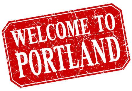 portland: welcome to Portland red square grunge stamp Illustration