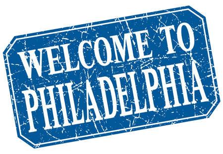 philadelphia: welcome to Philadelphia blue square grunge stamp Illustration