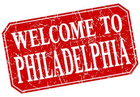 philadelphia: welcome to Philadelphia red square grunge stamp