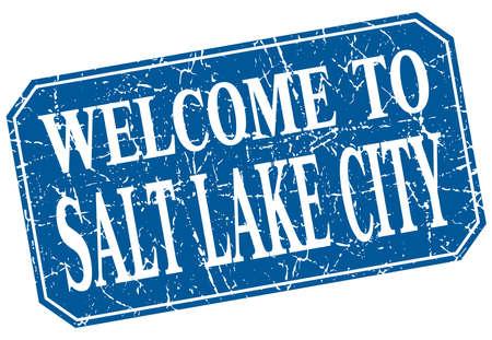 salt lake city: welcome to Salt Lake City blue square grunge stamp