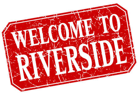 riverside: welcome to Riverside red square grunge stamp