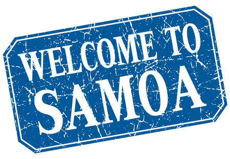 samoa: welcome to Samoa blue square grunge stamp Illustration