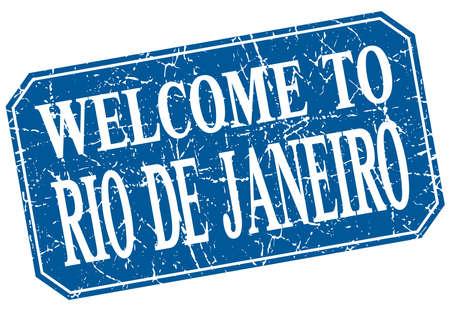 janeiro: welcome to Rio De Janeiro blue square grunge stamp