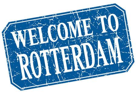 rotterdam: welcome to Rotterdam blue square grunge stamp Illustration