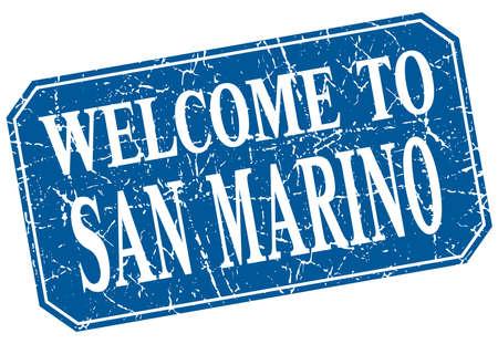 san marino: welcome to San Marino blue square grunge stamp