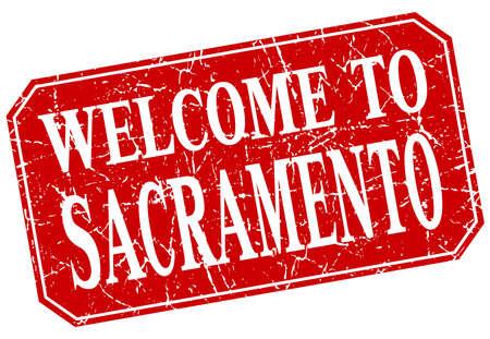 sacramento: welcome to Sacramento red square grunge stamp