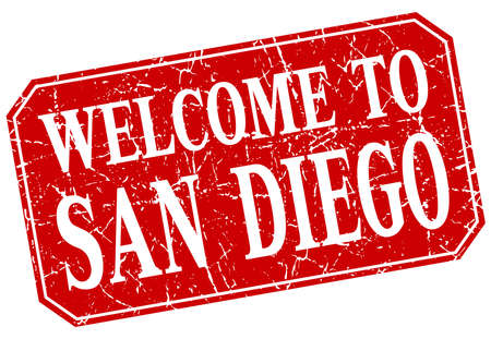 san diego: welcome to San Diego red square grunge stamp Illustration