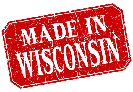 wisconsin: made in Wisconsin red square grunge stamp