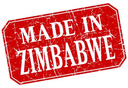 zimbabue: realizado en Zimbabwe grunge sello cuadrado rojo