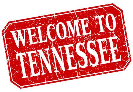tennesse: la bienvenida a Tennessee sello rojo cuadrado del grunge