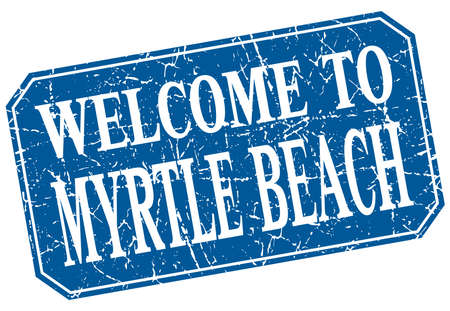 myrtle beach: welcome to Myrtle Beach blue square grunge stamp Illustration