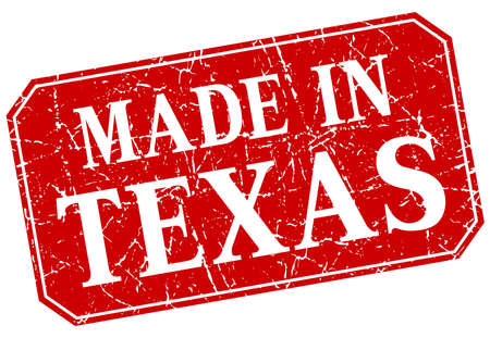 made in: made in Texas red square grunge stamp Illustration