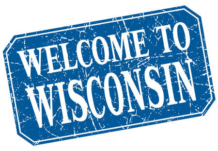 wisconsin: welcome to Wisconsin blue square grunge stamp