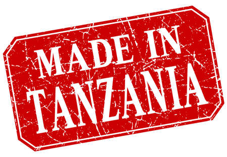 made in: made in Tanzania red square grunge stamp Illustration