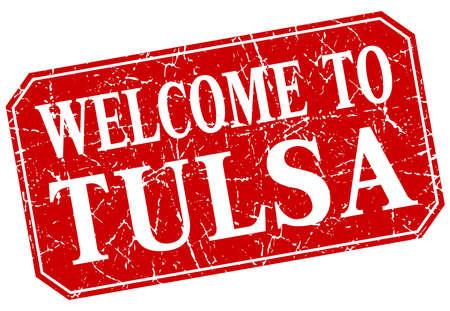 tulsa: welcome to Tulsa red square grunge stamp Illustration