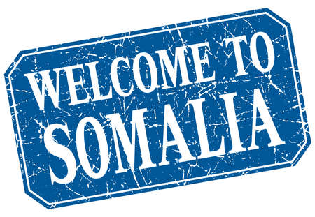 somalia: welcome to Somalia blue square grunge stamp