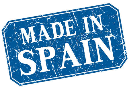 made in spain: made in Spain blue square grunge stamp