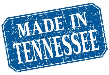 tennesse: hecho en Tennessee del sello del grunge cuadrado azul