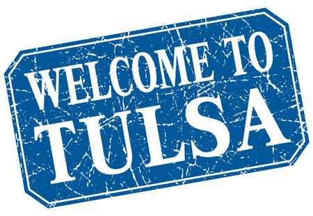 tulsa: welcome to Tulsa blue square grunge stamp