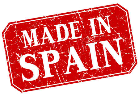 made in spain: made in Spain red square grunge stamp