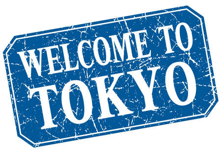 tokyo: welcome to Tokyo blue square grunge stamp