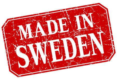 sweden: made in Sweden red square grunge stamp Illustration