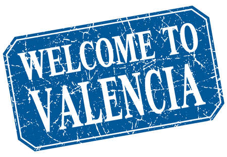 valencia: welcome to Valencia blue square grunge stamp