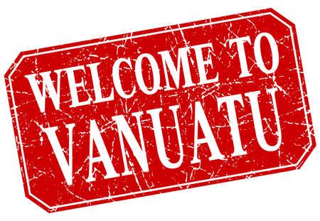 vanuatu: welcome to Vanuatu red square grunge stamp
