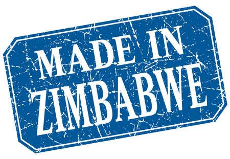 zimbabwe: made in Zimbabwe blue square grunge stamp