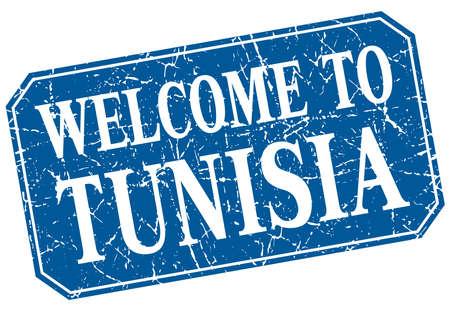 tunisia: welcome to Tunisia blue square grunge stamp