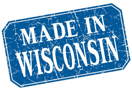 wisconsin: made in Wisconsin blue square grunge stamp
