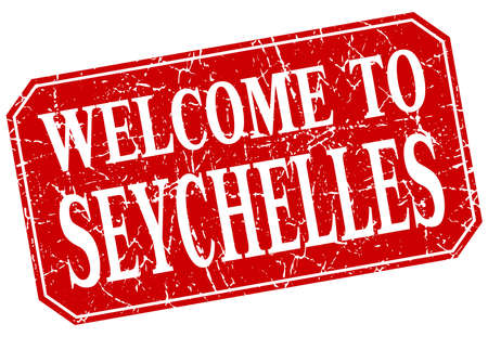 welcome to Seychelles red square grunge stamp