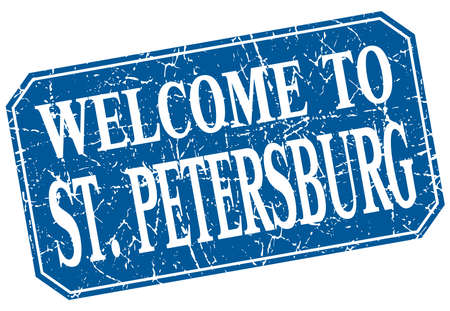 st petersburg: welcome to St. Petersburg blue square grunge stamp Illustration