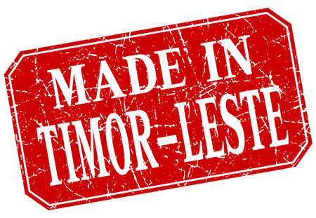 made in: made in Timor-Leste red square grunge stamp