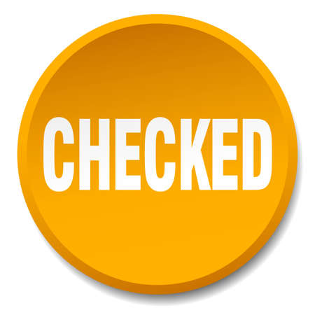 checked: checked orange round flat isolated push button Illustration