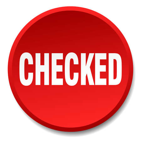checked: checked red round flat isolated push button