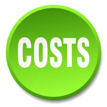costs: costs green round flat isolated push button