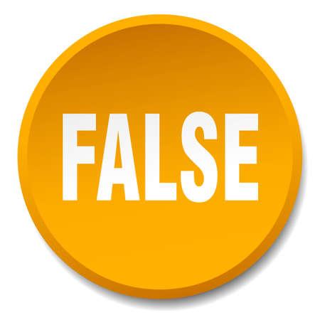 false: false orange round flat isolated push button Illustration