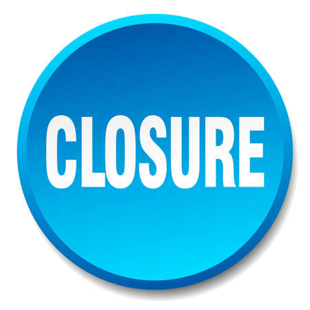 closure: closure blue round flat isolated push button