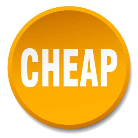cheap: cheap orange round flat isolated push button