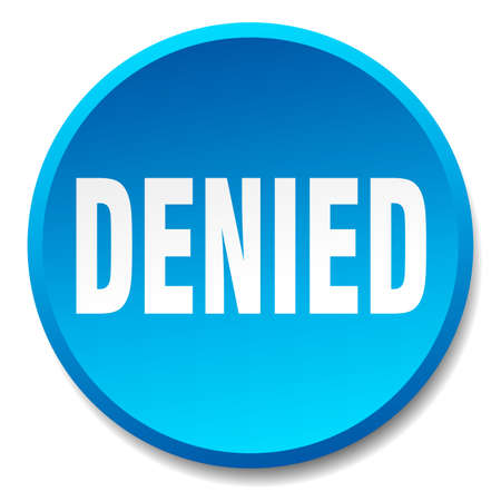denied: denied blue round flat isolated push button Illustration