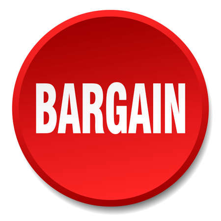bargain: bargain red round flat isolated push button Illustration