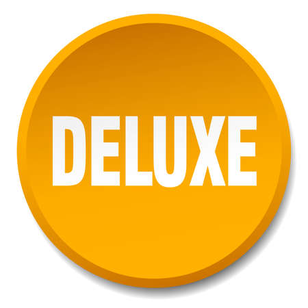 deluxe: deluxe orange round flat isolated push button