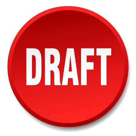 draft: draft red round flat isolated push button Illustration