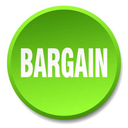 bargain: bargain green round flat isolated push button Illustration