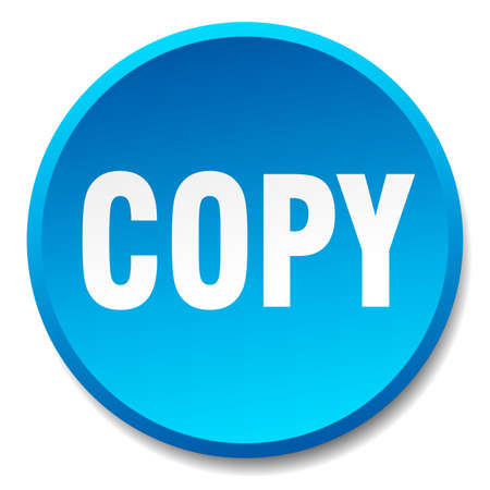 copy: copy blue round flat isolated push button Illustration