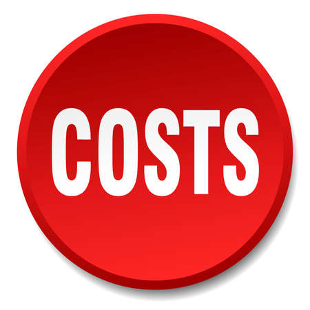 costs: costs red round flat isolated push button