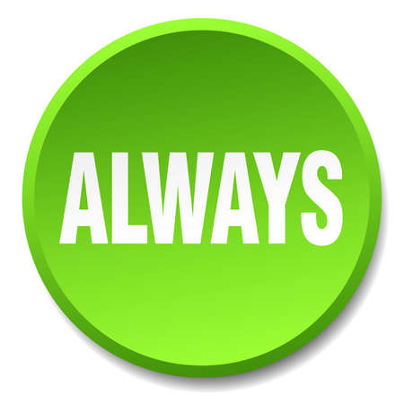 always: always green round flat isolated push button Illustration